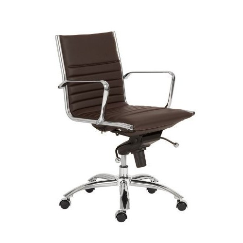 Euro Style Dirk Leatherette Adjustable Office Chair with Chromed Steel Frame and Base with Arms, Low Back, Brown [Brown, Low Back-Arms]