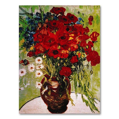 Trademark Global Vincent van Gogh 'Daisies & Poppies' Canvas Art [Overall Dimensions : 14x19]