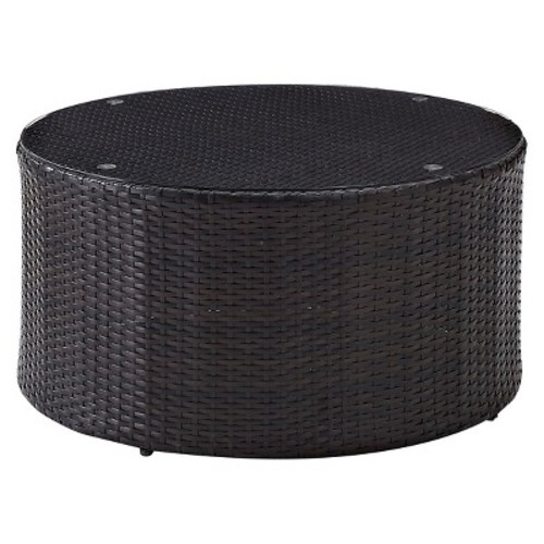 Crosley Furniture Catalina Outdoor Wicker Round Coffee Table with Glass Top - Brown : Garden & Outdoor [Coffee Table]