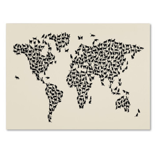 'Cats World Map 2' by Michael Tompsett Framed Graphic Art on Wrapped Canvas
