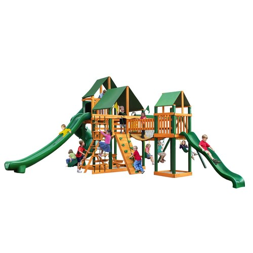 Gorilla Playsets Treasure Trove II Swing Set with Timber Shield and Sunbrella Canvas Forest Green Canopy Cedar Playset