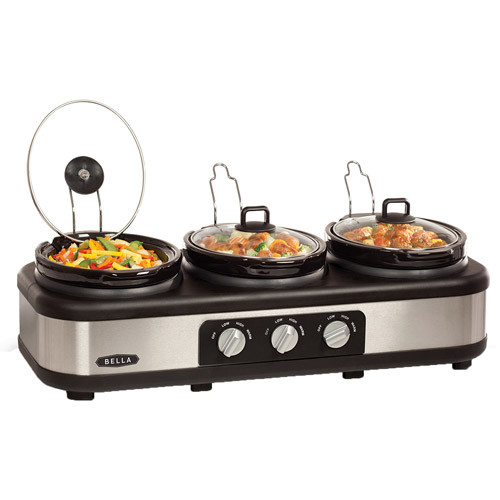 BELLA Triple Slow Cooker and Buffet Server, 3 x1.5 QT Manual Stainless Steel [Silver]
