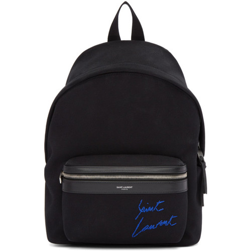Black Embroidered Mini City Backpack