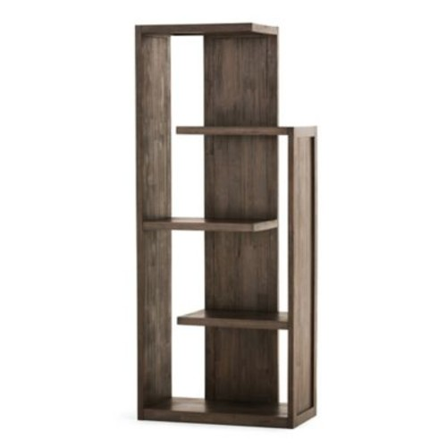 Simpli Home Monroe Bookcase with Distressed Charcoal Brown Stain
