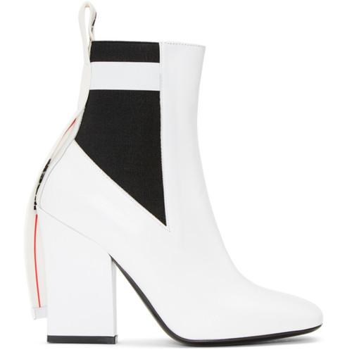 MSGM White Logo Chelsea Boots