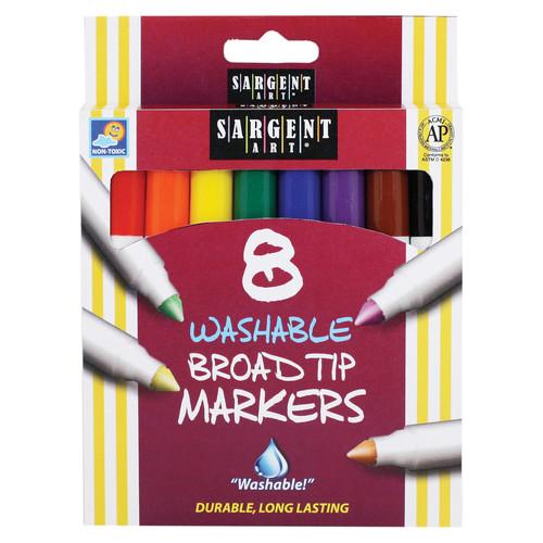 Sargent Art Washable Markers, Broad Tip, 8 Colors, Bundle Of 12