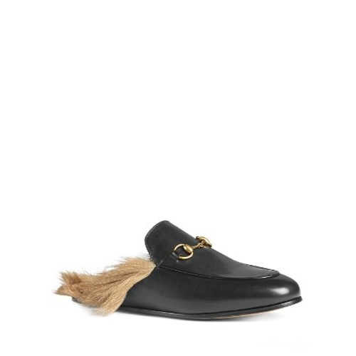 GUCCI Women'S Princetown Leather And Lamb Fur Mules