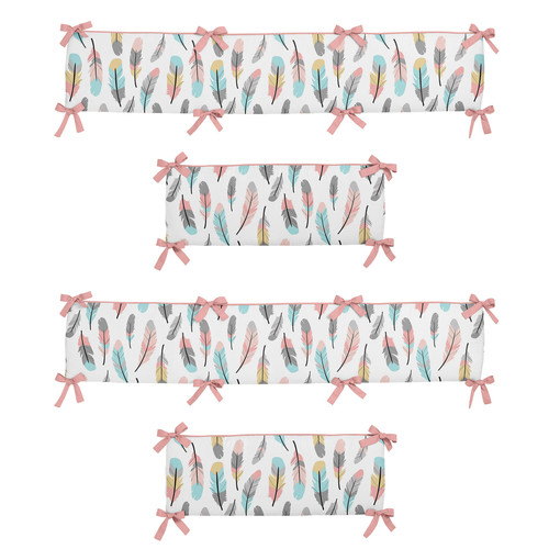 Sweet Jojo Designs Coral and Turquoise Feather Collection Crib Bumper