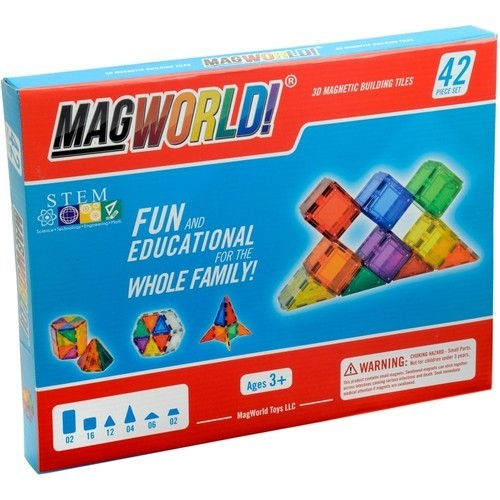 MagWorld - Rainbow Magnetic Building Tiles Set