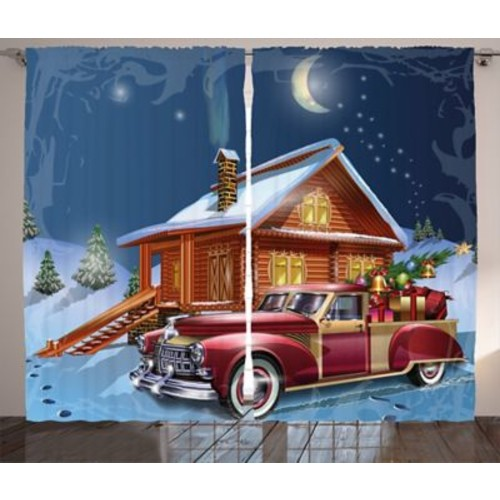 Christmas Wooden Lodge w/ Truck Graphic Print Room Darkening Rod Pocket Curtain Panels (Set of 2)