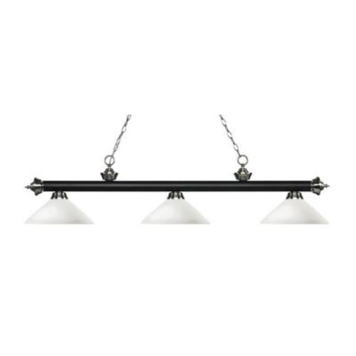 Filament Design Pire 3-Light Matte Black and Brushed Nickel Island Light with Matte Opal Glass Shades
