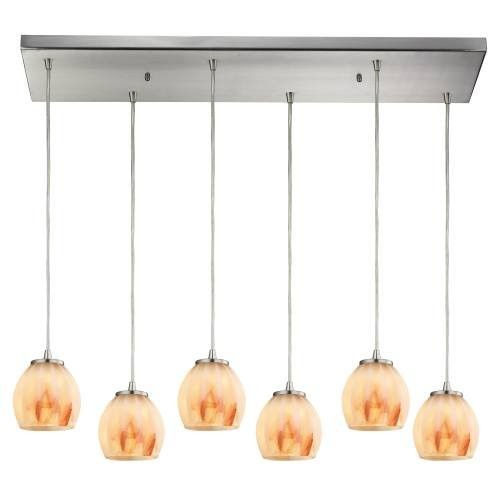Six Lights Contemporary Pendant in Satin Nickel Finish [Satin Nickel]