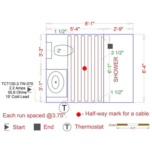 WarmlyYours - 78 sq. ft. - 120V Electric Floor Heating Cable Kit with Touch Screen Thermostat