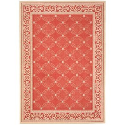 Safavieh Courtyard Red/Natural 9 ft. x 12 ft. Indoor/Outdoor Area Rug