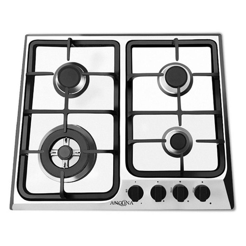 Ancona 24 in. Gas Cooktop in Stainless Steel with 4 Burners including Triple Ring Brass Power Burner