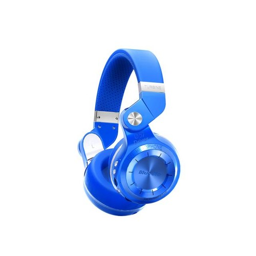 Bluedio T2+ (Turbine 2 Plus) Headset Bluetooth 4.1 Stereo Wireless On-Ear Headphones with Built-In Microphone, Support SD Card Playback FM Radio - Blue