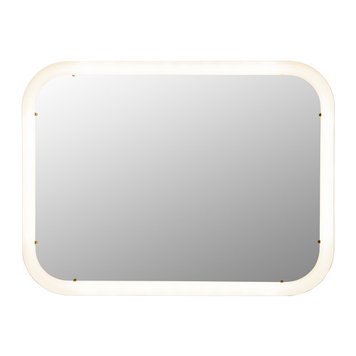 STORJORM Mirror with built-in light, white