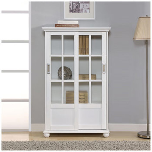 Altra Aaron Lane 4-Shelf Bookcase with Sliding Glass Doors - White