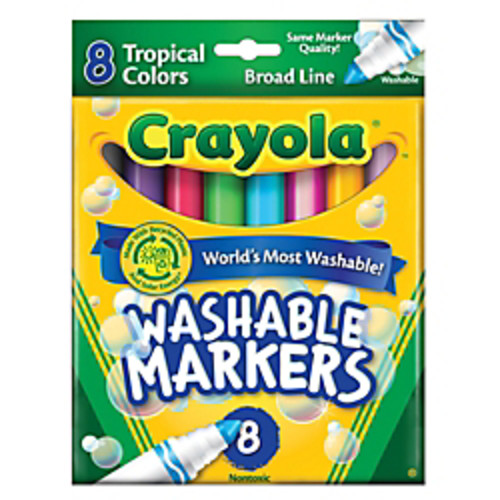 Crayola Washable Markers, Broad Line, Assorted Tropical Colors, Box Of 8