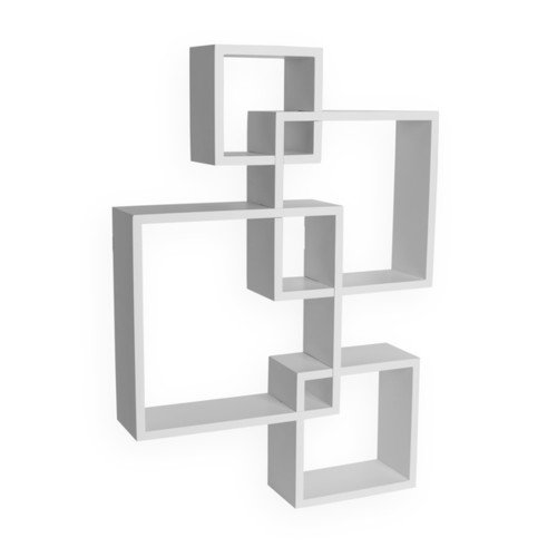 Danya B White Laminate Intersecting Cube Shelves