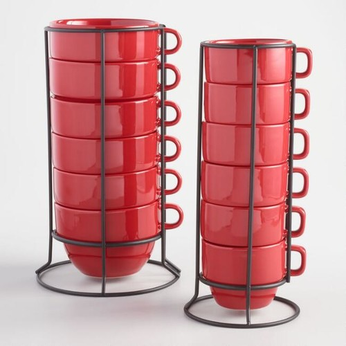 Red Stacking Mugs Set of 6