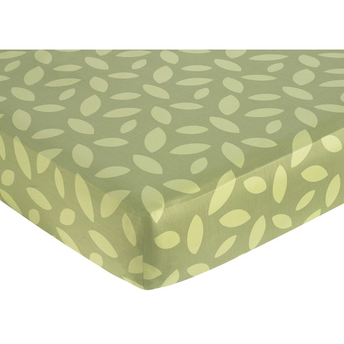 Sweet Jojo Designs Jungle Time Collection Fitted Crib Sheet - Green Leaf Print