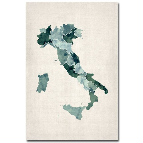 Trademark Global Michael Tompsett 'Italy Watercolor Map' Canvas Art [Overall Dimensions : 30x47]