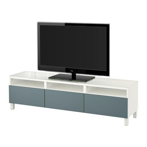 BEST TV unit with drawers, Lappviken white [drawer : drawer runner, push-open]