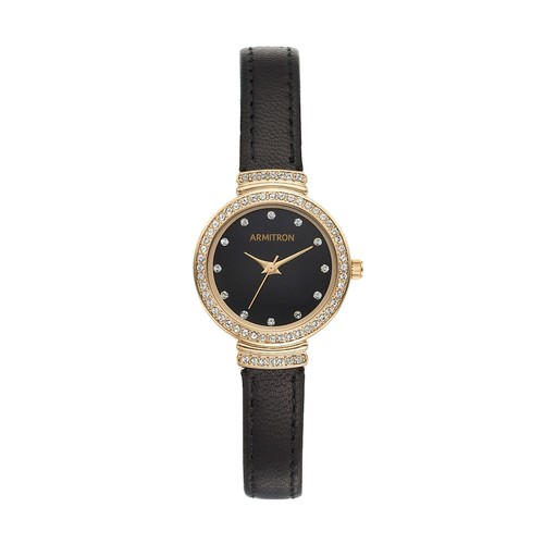 Armitron Now Womens Crystal-Accent Black Leather Strap Watch