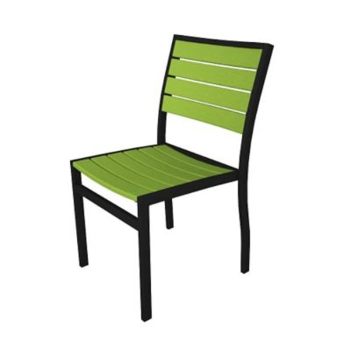 POLYWOOD Euro Dining Side Chair ; Black / Lime