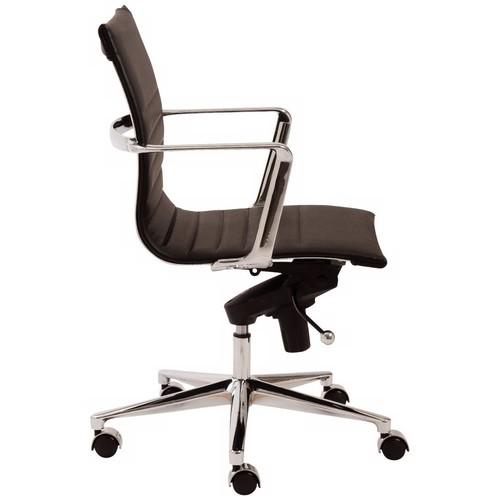 Euro Style Kyler Low Back Office Chair, Black Leatherette/Chrome [Black]