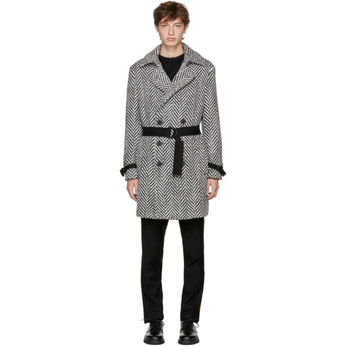 SAINT LAURENT Black & White Double-Breasted Chevron Trench Coat