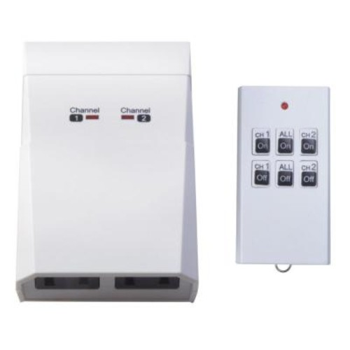 Woods 15-Amp Indoor Plug-In Wireless Remote Dual-Outlet Appliance Control, White