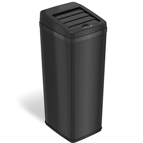 iTouchless Sliding Lid Automatic Touchless Sensor Trash Can  14 Gallon / 52 Liter  Black  Kitchen Trash Can [Black]