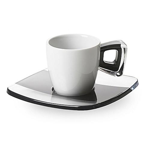 Omada Adamo Espresso Cups and Saucers in Black (Set of 6)
