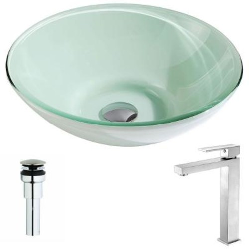 ANZZI Sonata Series Deco-Glass Vessel Sink in Lustrous Light Green with Enti Faucet in Brushed Nickel