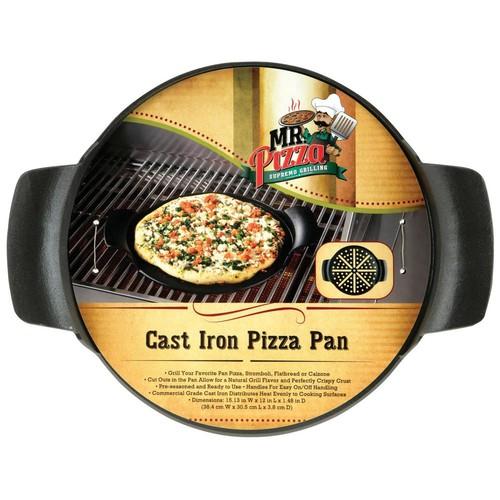 Mr Bar B Q Mr. Pizza Supremo Grilling Cast Iron Pizza Pan