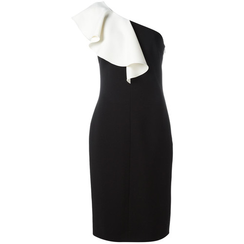 SAINT LAURENT Monochrome Ruffle Trim Dress