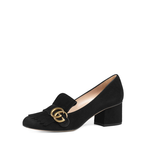 GUCCI Marmont Fringe Suede 55Mm Loafer, Black