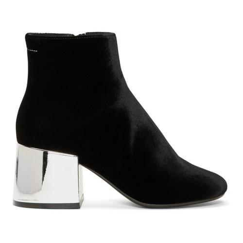 Black Velvet Cube Heel Boots