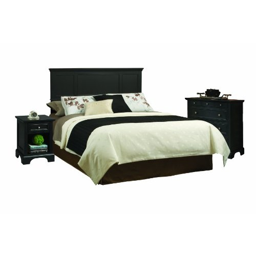 Home Styles 5531-6012 Bedford Headboard with Night Stand and Chest, King, Black