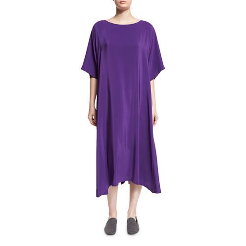 ESKANDAR Boat-Neck Silk T-Shirt Dress, Purple