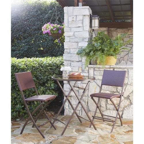 COSCO Outdoor Living Transitional 3-piece Delray Steel Woven Wicker High Top Bistro Set