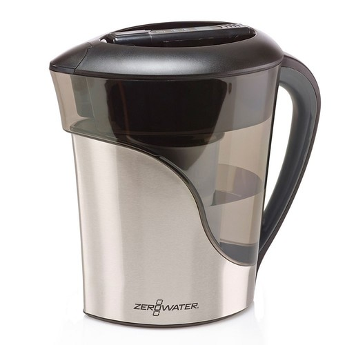 ZeroWater - 8-Cup Water Filtration Pitcher - Black/Stainless Steel