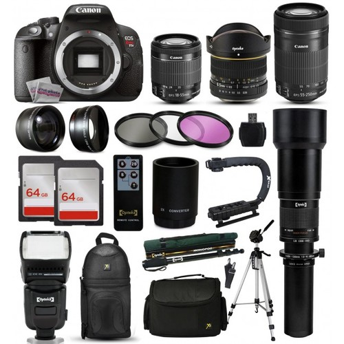 Canon T5i DSLR Camera + 18-55mm IS II + 55-250mm STM + 650-1300mm + 128GB + More