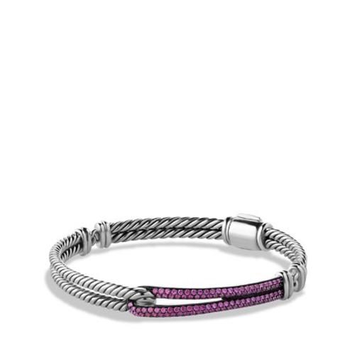 Petite Pav Labyrinth Single Loop Bracelet with Pink Sapphires