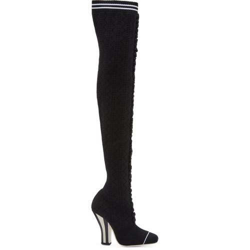 FENDI Black Scuba Sock Over-The-Knee Boots