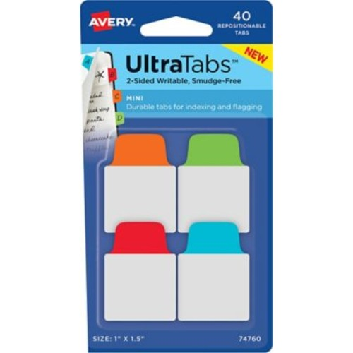 Avery Mini Ultra Tabs, Primary (Red, Blue, Orange, Green), 1