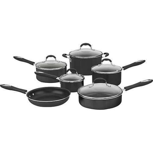 Cuisinart Advantage 11-Piece Non-Stick Aluminum Cookware Set, Black (55-11BK)
