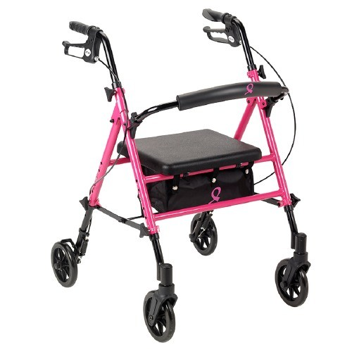 Drive Medical Breast Cancer Awareness Adjustable Height Rollator, Pink